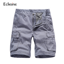 Mens work Multi-Pockets Cotton Shorts 2019 new Summer Casual clothes men Short Military Cargo Pants Plus Size Brand Shorts zipper fly multi pockets cargo shorts