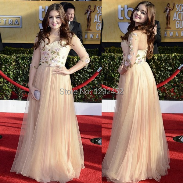 SAG Awards Red Carpet Ariel Winter Sexy Champagne Sheer Sleeves Celebrity  Prom Dress 3 4 Length Sleeves Embroidery Evening Gown 6bd3661e1f93