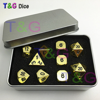 10pcs/set Golden Color Metal Dice D4 3xD6 D8 D10 D12 2xD20 with Iron Box Polyhedral Digital for Rpg Game