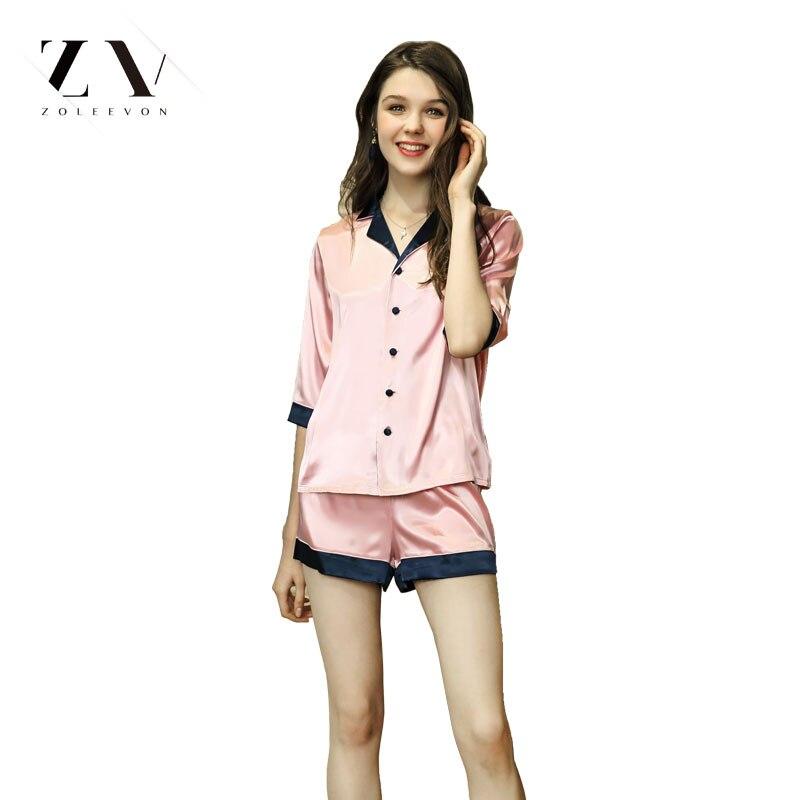 Women Silk   Pajamas     Sets   Top shorts solid Sleepwear Lingerie half Sleeve Women Lingerie 2 piece Satin   Pajama   camisola lingerie