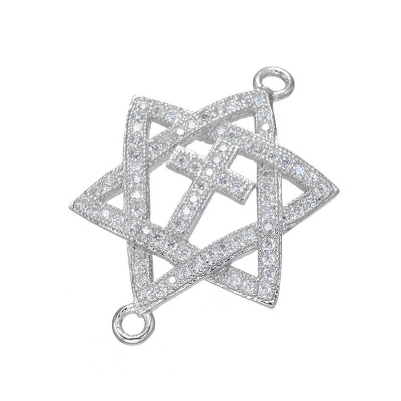 2017 New Arrival Shiny CZ micro pave connector hollow Five-pointed star with crosses brass metal jewelry findings & components