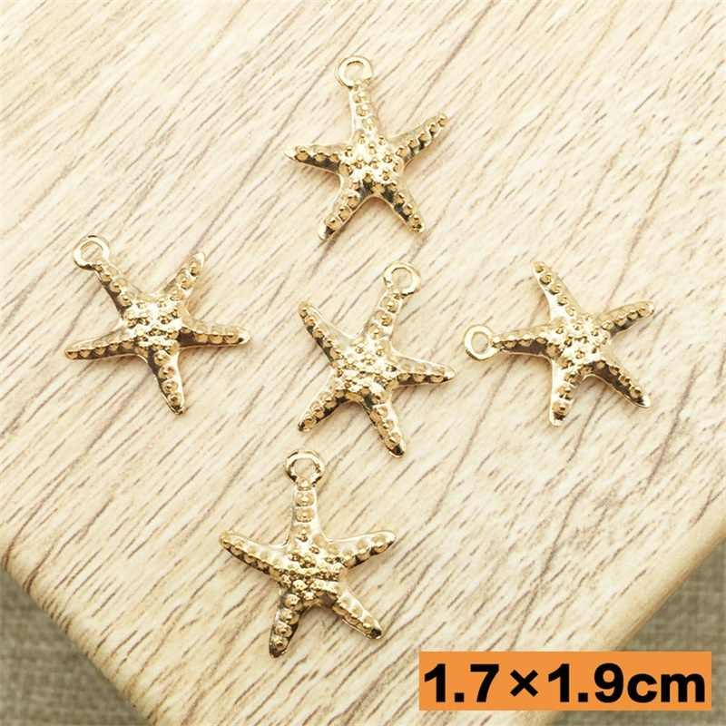 High quality 10pcs/lot Golden Starfish Charms Pendant Jewelry Charms Alloy Charm Metal Bracelet Charms DIY 17mm*19mm Nautical