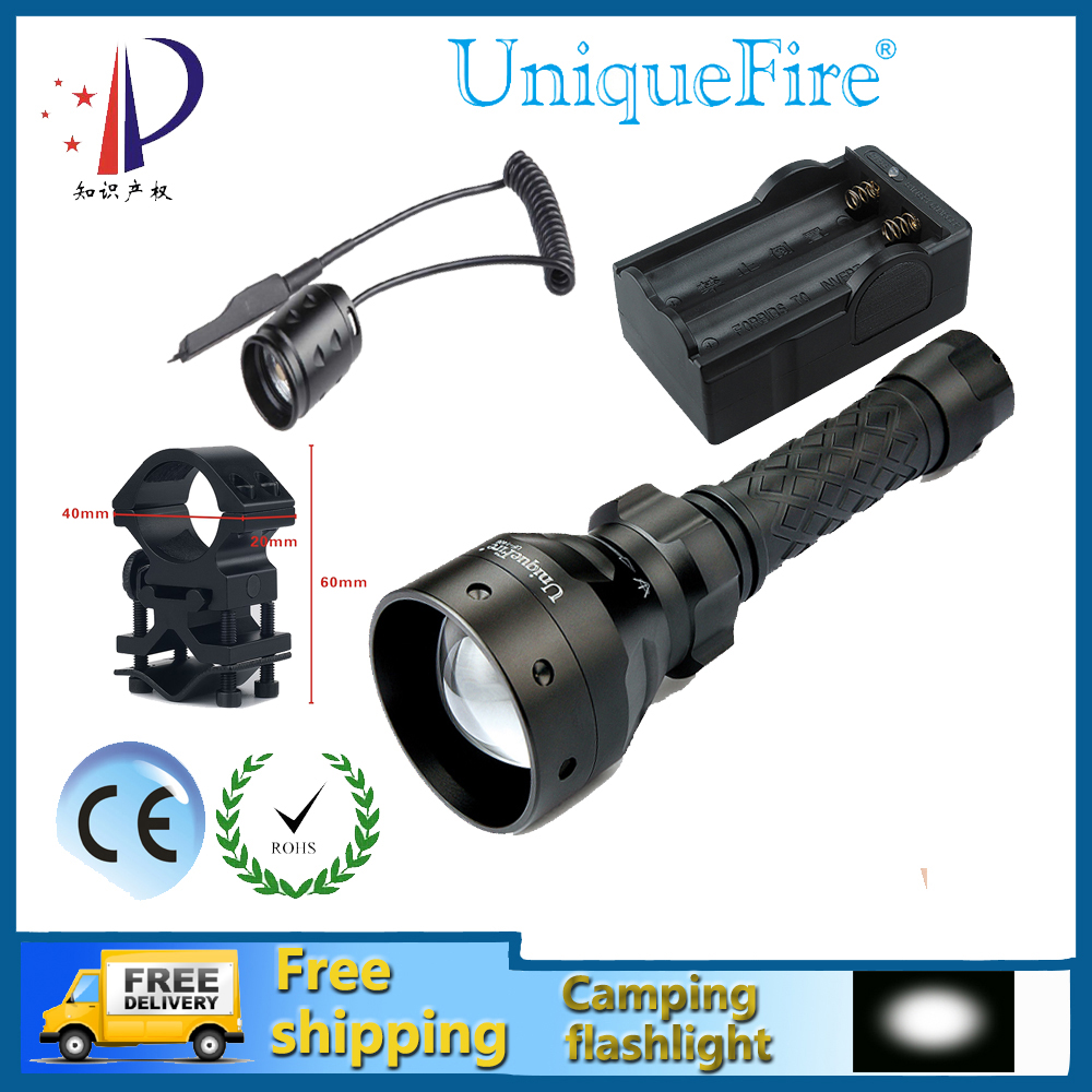 Uniquefire UF-1406-XM-L2 Adjustable LED Flashlight Cree 18650 Zoomable 5 Modes 10W Hand Light+Rat Tail+Charger+Gun Mount