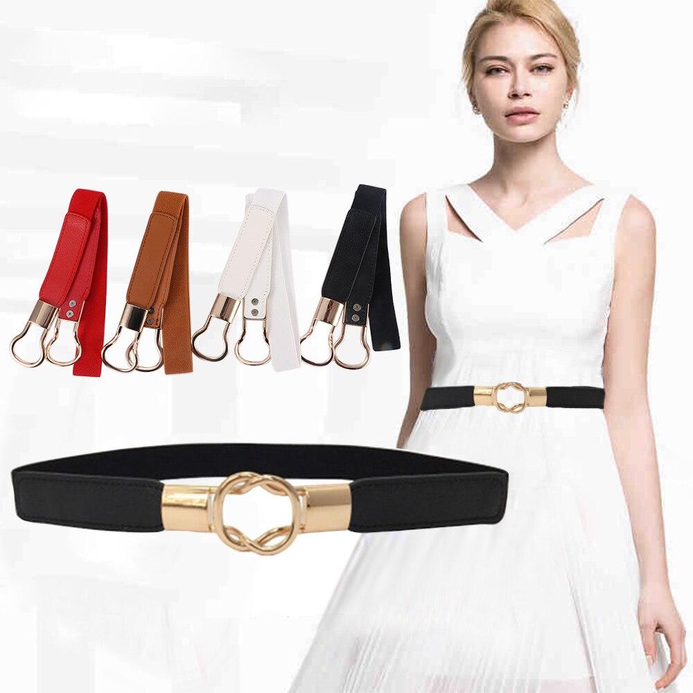 Fashion Womens Belt Elastic Waistband Gold Circle Buckle Small Red Thin Cummerbund Woman Belt Strap Brown Free Shipping
