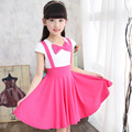 Girls Summer Dress Children Princess Casual Clothes 2017 New Kids Clothes Short  Bow Design Pink Dress For Girls