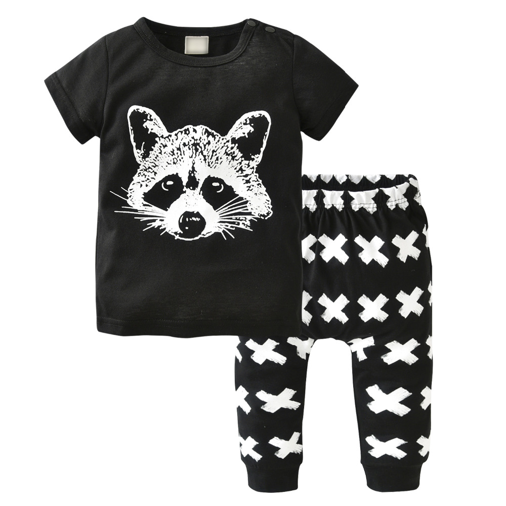 2017-New-Summer-baby-boy-clothes-short-sleeved-fox-avatar-baby-Romper-baby-girl-clothes-newborn-clothing-set-2
