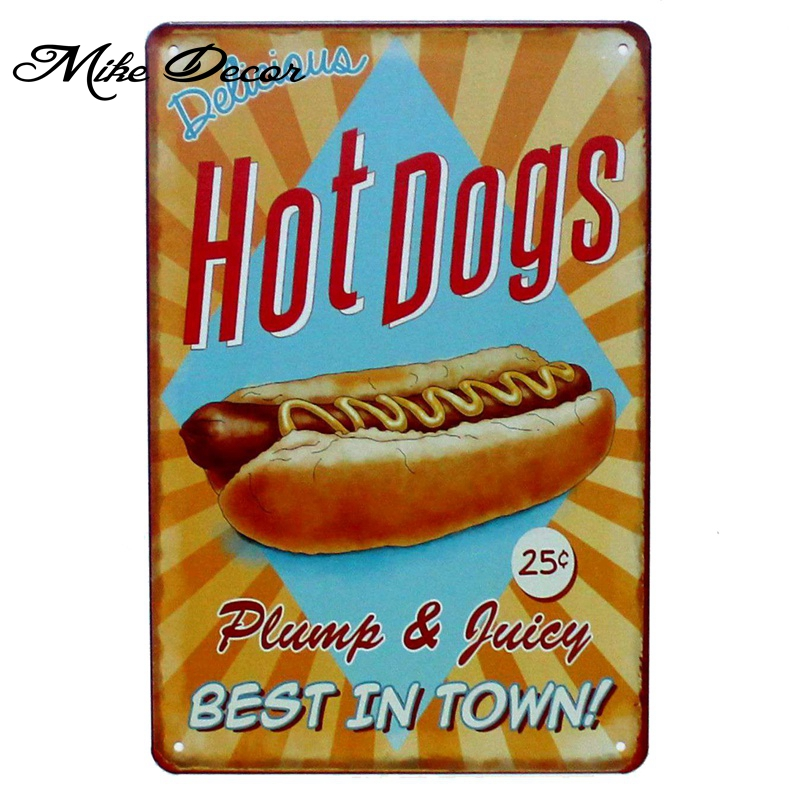 [ Mike86 ] HOT DOG Best in the Town Metal Poster Room Decor Retro Wall Craft Tin Sign For Room 20*30 CM Mix Items AA-913