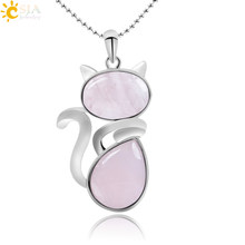 CSJA Natural Stone Necklaces Pendants for Women Girl Cute Cat Shape Rock Pink Quartz Black Onyx Beads Chain Reiki Jewelry F066(China)