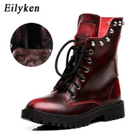 Eilyken Autumn Winter Fashion Genuine Leather Skull Ankle Women   Boots   Quality Black Women Riding, Equestrian   Boots   shoes