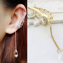 2017 New 1 pc Occident Style Fairy Angel Wings Ear Clip Crystal Chain Earring Silver