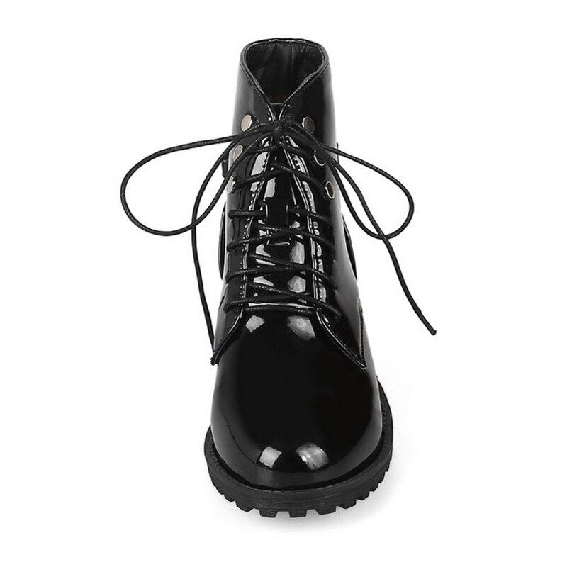 Image 5 - JIANBUDAN Patent leather large size women boots Autumn shoes waterproof winter warm boots Non slip snow boots size 35 46warm bootsmartin bootsmartin boots women -
