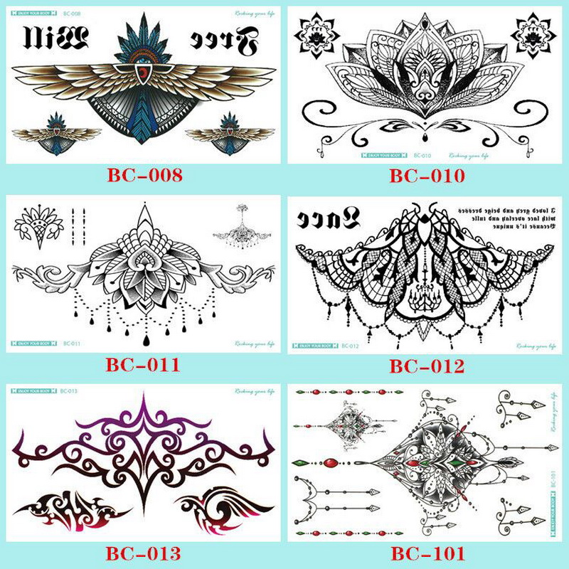 1pc Chest Flash Tattoo 23models large black magical flower Sternum tattoos body paint necklace Under breast 24*13.8cm cool girls 2