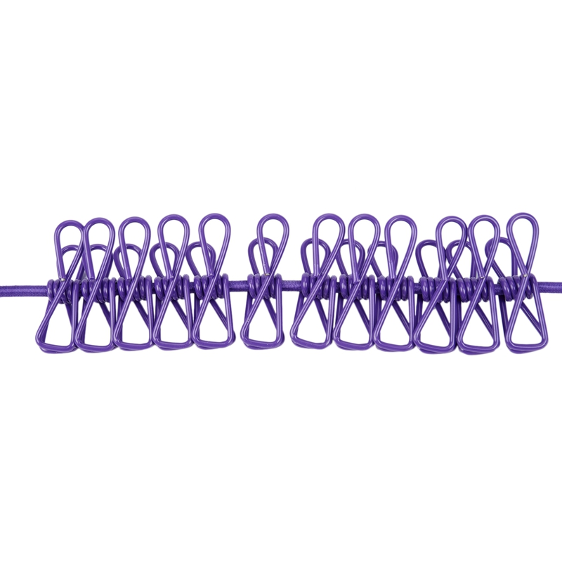 Image 4 - New Portable Travel Stretchy Laundry Line Outdoor Camping Windproof Clothing Line With 12 Clip Hooks Outdoor Tool-in Clotheslines from Home & Garden