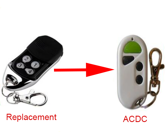 ACDC Hand transmitter 433mhz replacemnet remote control garage gate fob rolling code