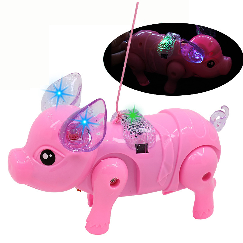Cute Funny Electric Piglet Music Walking Pig Action Figure Toys Acousto-optic Porket Piglet Toys For Children Baby Kids Pets