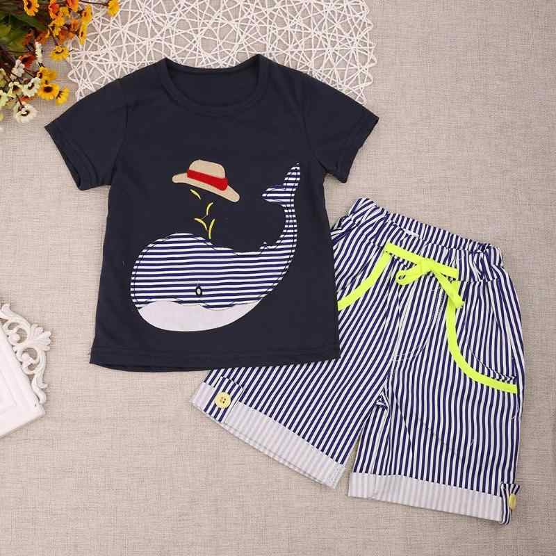 2f6dac834e94 ... 2pcs Children's Clothing Boys Summer Sets Whale T-shirt and Striped  Shorts Sports Suit Children ...