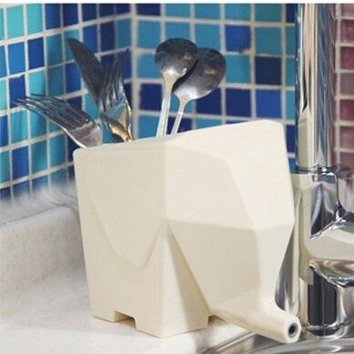 Genial 4 Pcs/Lot Cutlery Drainer Standing Storage Rack Elephant Kitchen Drain  Flower Pot Table Organizer