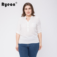 Ryeon White Shirt Women Blouse Casual Elegant Summer Spring Stand Collar Half Sleeve Office Women Blouse
