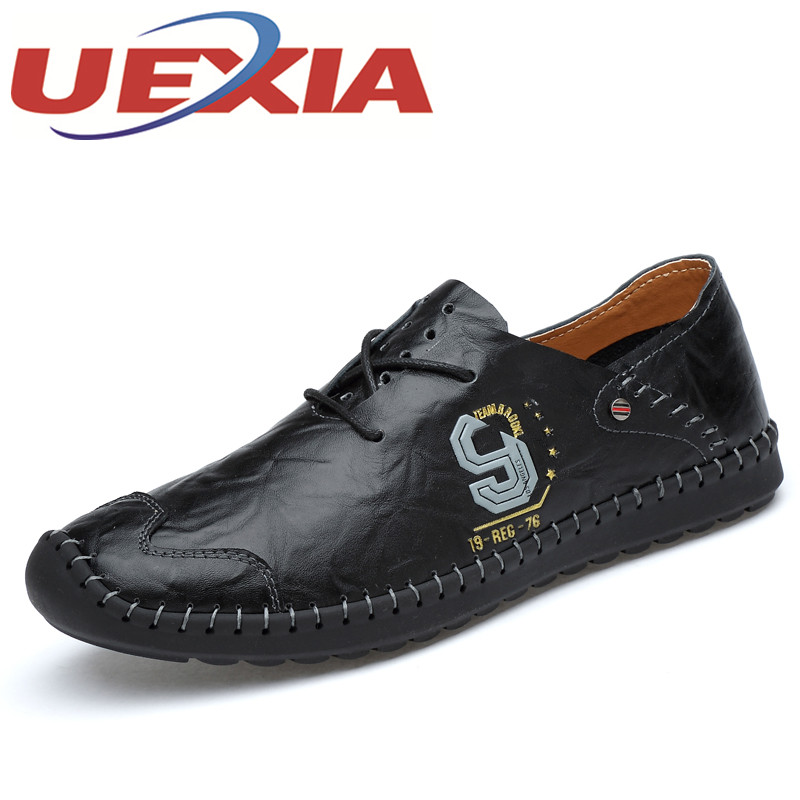 Fashion Comfortable Men Soft Leather Flats Shoes Lace-up Solid Lace Up Walking Shoes For Men Causal Breathable Hollow Loafers