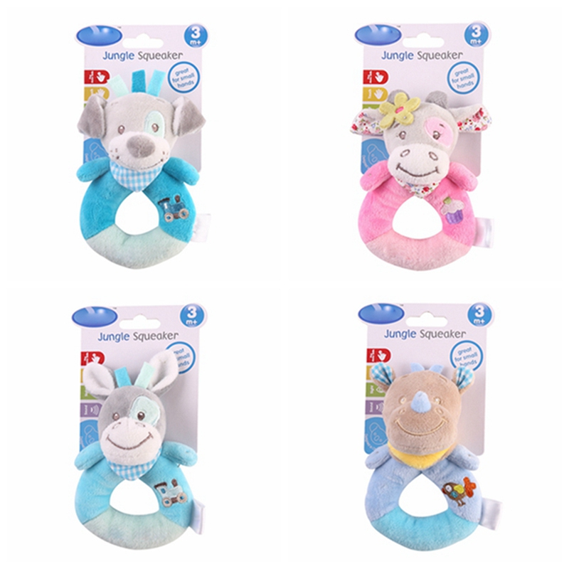 Hot Animal Soft Plush Kids Baby Boy Girl Rattles Baby Hand Bells Educational Doll Cute Cartoon Animal Plush Infant Toys Gift