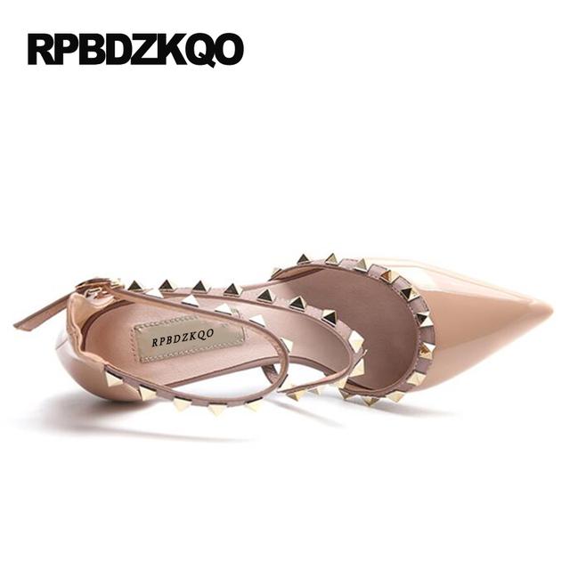 Runway Scarpin Nude High Heels Pointed Toe Rivet Pumps Fashion Brand Women Shoes 2017 Italian Ankle Strap Big Size 9 41 Stud