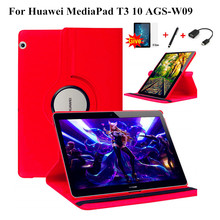 Case for Honor Play Pad 2, 360 Rotating Litchi skin Leather case flip stand cover for Huawei MediaPad T3 10 AGS-L09 AGS-L03 9.6 цена