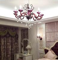 Rose Red Crystal Chandelier Led Indoor Lighting Luxury Purple Crystal Lamp Dining Room Kitchen Bar Light