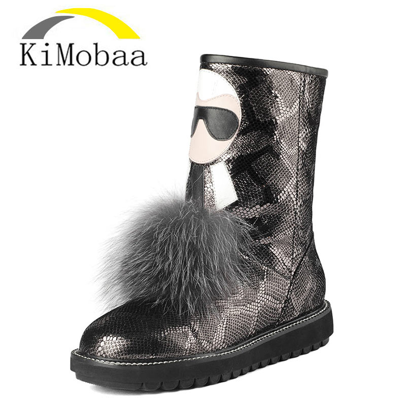 Kimobaa Genuine Leather Women's Snow Boots Fox Fur Warm Ankle Boots 100% Wool Cow Leather Winter Russia Shoes Plus Size TX189 blaibilton new autumn winter 100% genuine leather cow sheepskin wool one patchwork snow boots men shoes warm fur mens ankle boot
