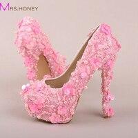 Różowe Perły Cekiny Koronki Ślubne Buty Wysokie Obcasy Platformy Buty Sukienka Piękne Party Prom Buty Bling Bling Buty Druhna