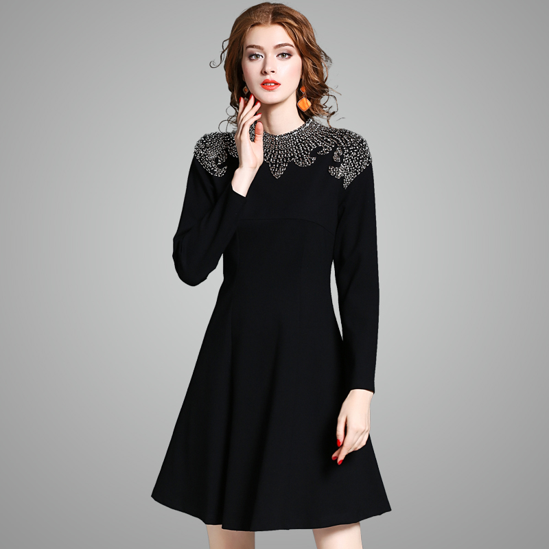 Winter dress 2017 new High quality spring Beading Party ...