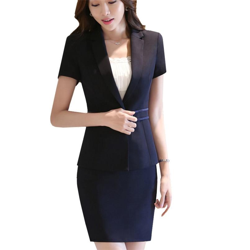 Women Business Office OL Work Blazer Jacket and Skirt Suit ...