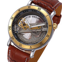 Luksusowe Mężczyźni Szkielet Roman Cyfry Wrist Watch Przezroczysty Mechaniczne Automatyczne Zegarki Mężczyźni Prawdziwej Skóry Zegar