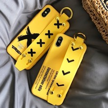 Cute Case for iPhone XR XS Max X IG INS Original Wrist Strap Phone Silicone Cover for iPhone 6S 6 7 8 Plus Cases Coque Funda