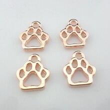 40pcs Alloy Rose Gold Hollow Dog Cat Paw Print Charms Pendan