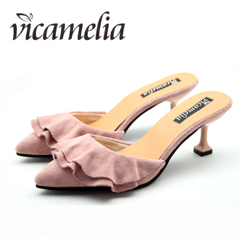 Woman Flounce Middle Heel Slippers Shallow Out Ladies Slides Sandals Pointed Toe Mules Female Temperament Shoes Vicamelia 012