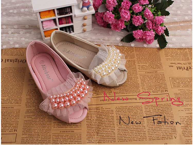 baby Girls tulle pearls leather shoes, childrens Korean style party/wedding wear, kids Retail, 1AS503-20R