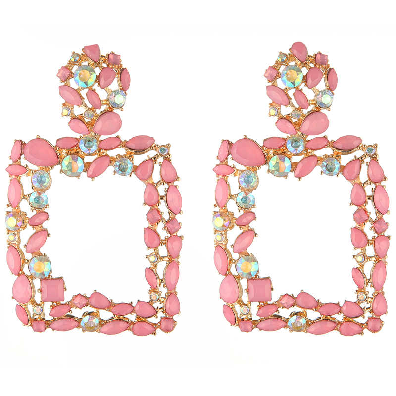 Pink statement earrings for women large square crystal big earrings 2019 rhinestone drop earing luxury geometric fashion jewelry