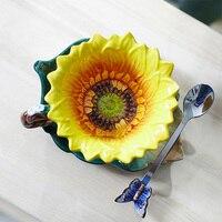 Керамические кружки из фарфора с эмалированными подсолнечниками  оригинальная кофейная чашка Taza Copo для домашнего декора  фарфоровая ложка ...