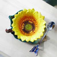 Taza de porcelana de esmalte de girasol creativa Taza de café de cerámica Original Taza Copo decoración del hogar cuchara de mariposa de porcelana