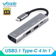 4 1 USB C ハブ HDMI USB C で 3.1 ハブサンダーボルト 3 アダプタ Macbook の三星銀河 S9 huawei 社 P20 メイト 20 プロタイプ C USB ハブ