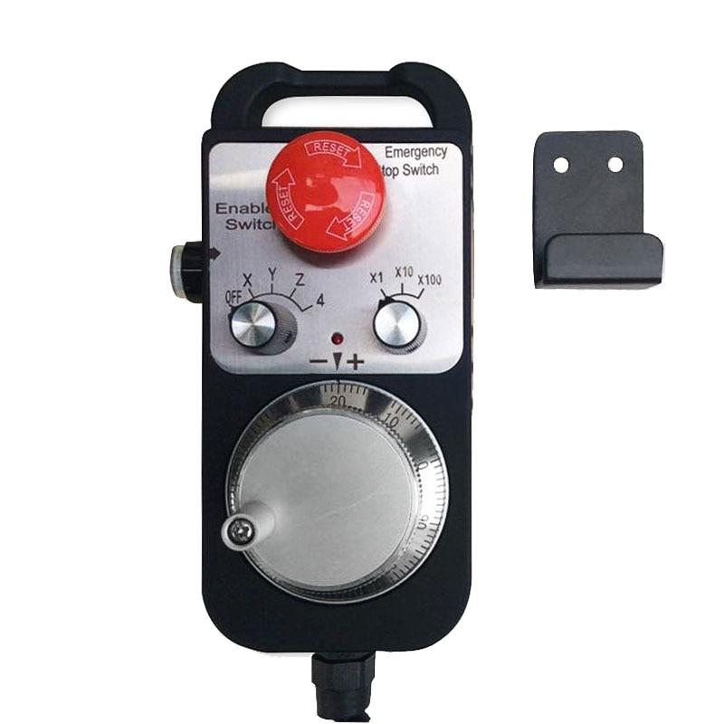 CNC Pulse Generator 4 Axis MPG Pendant Handwheel & Emergency Stop, manual pulse generator for Siemens, MITSUBISHI, FANUC.etc, 5V mpg handwheel handy pulser 4 axis 5v 15v 25ppr for mitsubishi cnc system with cable