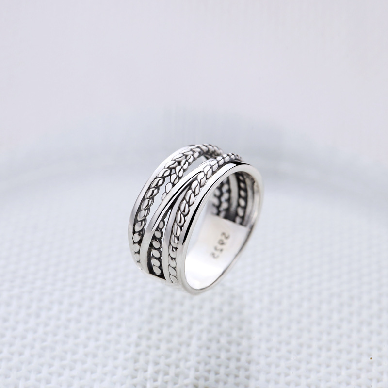 LouLeur 100% 925 Sterling Silver Chaos Rope Vintage Rings Silver Twist Element Design Retro Rings For Women 2018 Fine Jewelry