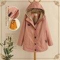 Японский сладкий вышивка harajuku chaqueta джинсовые кимоно хлопок пальто donna капюшоном теплый мех женщин осень зимняя куртка пальто