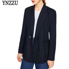 ef1d5dc42 YNZZU elegante rayas mujeres chaqueta 2018 otoño manga larga doble Breasted  Oficina Blazer capa del juego de negocios Outwear YO.