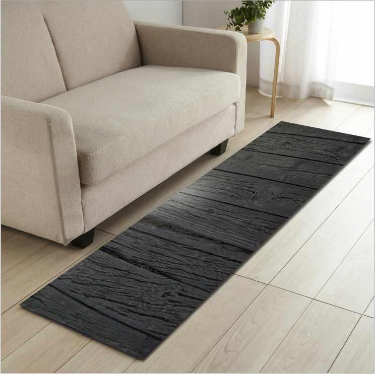 をリビングルームキッチンカーペット木材塗装長方形ソファ寝室ベッドサイドマット玄関敷物