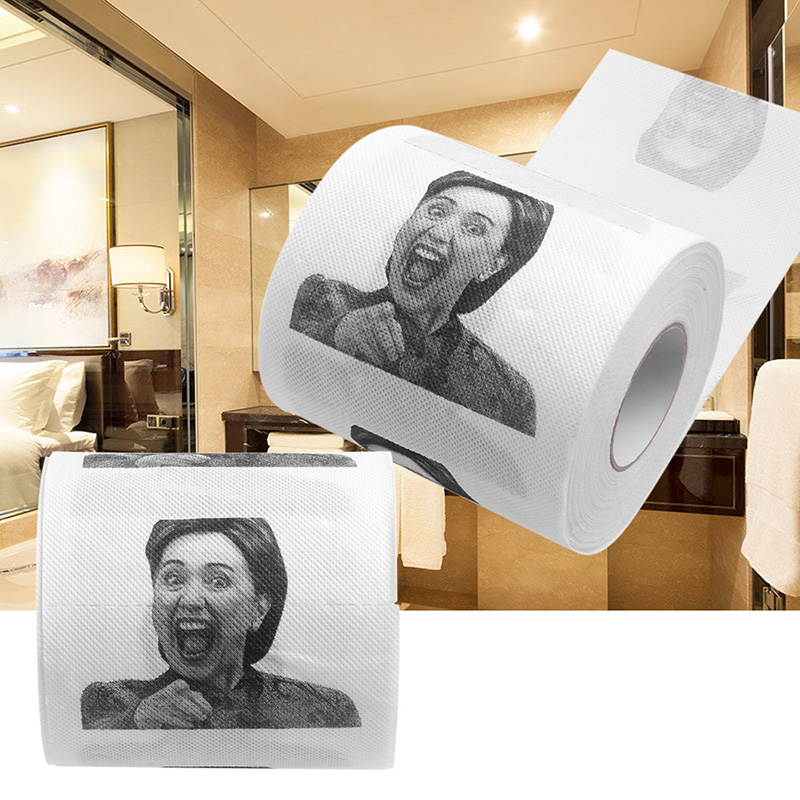1Pc Hillary Clinton Toilet Paper Tissue Funny Roll Prank Joke Gift 2Ply 240Sheet Gap Gift