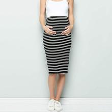 Женское платье для беременных, комфортная юбка-карандаш в полоску с завышенной талией, юбка для беременных
