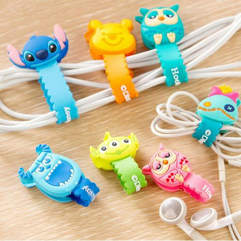 10pcs/lot Lovely Stitch Donald Duck Cartoon Cable Winder Headphone Earphone Cable Wire Organizer Cord Holder For iphone samsung