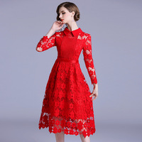 New Water Soluble Lace Women Dress Autumn Red Hollow Out Crochet Floral Vintage Turn Down Collar Dress Slim Long N3277 506