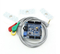Free Shipping CFSUNBIRD ECG EKG EMG Shield For Arduino With Cables And Electrodes
